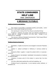 Help line Info - Civil Supplies and Consumer Protection Department