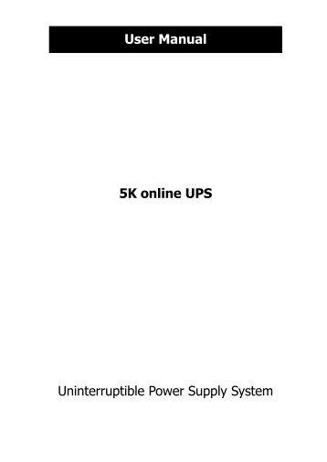 5K online UPS Uninterruptible Power Supply System User ... - Voltron