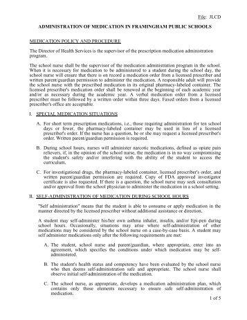 Medication Administration Policy - Framingham Public Schools