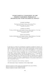 computational complexity of the perfect matching problem in ...