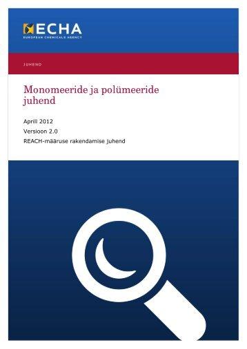 Monomeeride ja polümeeride juhend - Terviseamet