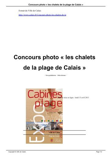 Concours photo « les chalets de la plage de Calais » - Ville de Calais