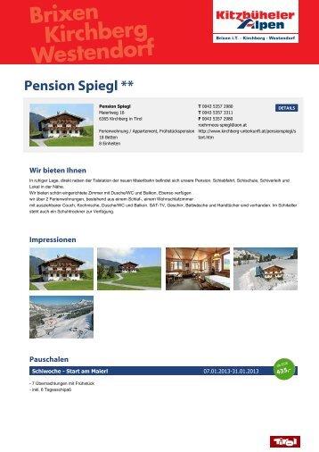 Pension Spiegl ** - Brixen im Thale