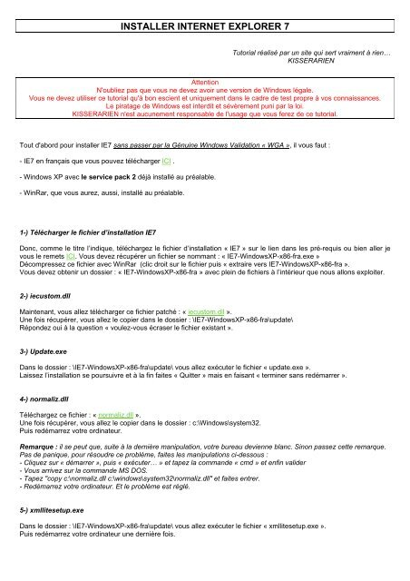 INSTALLER INTERNET EXPLORER 7 - Site KisSerARien