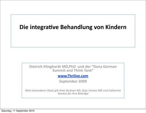 Die integrative Behandlung von Kindern - Klinghardt Academy