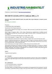 DECRETO LEGISLATIVO 2 febbraio 2001, n. 31 - IndustrieAmbiente.it
