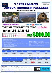 DEP ON: 21 JAN 12 - Tour Packages NATAS Travel Agents