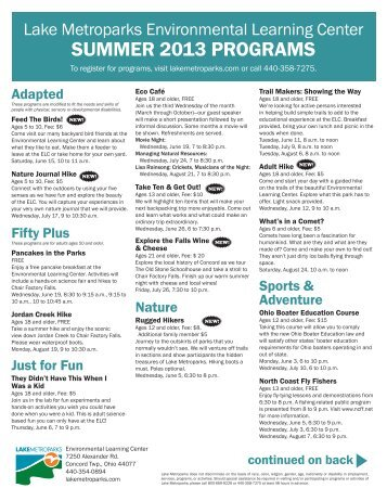 Summer 2013 flyer (PDF) - Lake Metroparks