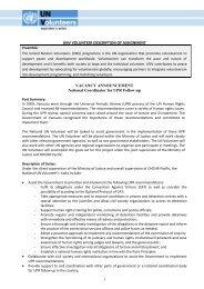 UNV VOLUNTEER DESCRIPTION OF ASSIGNMENT VACANCY ...