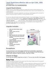 Liquid Restrictions effective date on April 20th, 2009. Liquid ...
