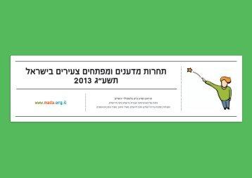 """תחרות מדענים ומפתחים צעירים בישראל 2013 ג""""עשת"""