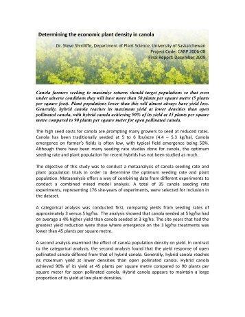 Determining the economic plant density in canola - SaskCanola
