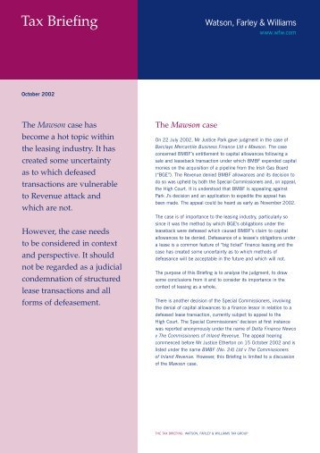 Tax Briefing - Watson, Farley & Williams