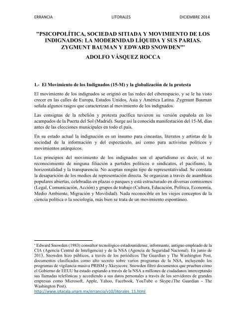 """""""PSICOPOLÍTICA, SOCIEDAD SITIADA Y MOVIMIENTO DE LOS INDIGNADOS:  LA MODERNIDAD LÍQUIDA Y SUS PARIAS. ZYGMUNT BAUMAN Y EDWARD SNOWDEN"""". DR.  ADOLFO VÁSQUEZ ROCCA"""