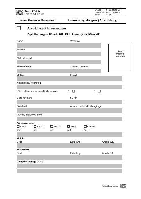 Bewerbungsbogen für Berufsretter-/Dipl. RS-Ausbildung