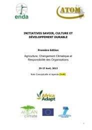 INITIATIVES SAVOIR, CULTURE ET ... - Africa Adapt