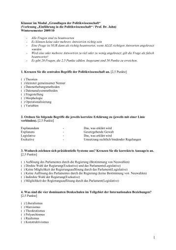 """Klausur im Modul """"Grundlagen der Politikwissenschaft ... - FSR Politik"""