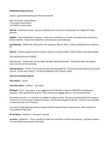 WNYRCNA Minutes 3/17/12 - Western New York Region