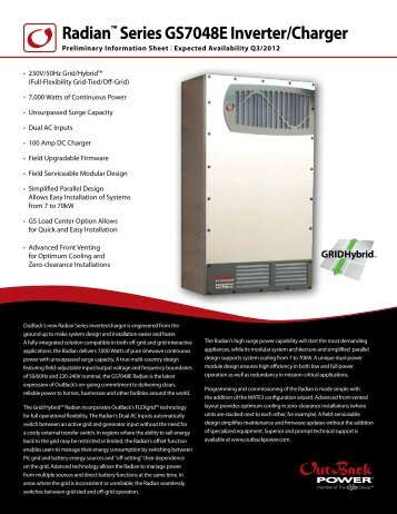 Radian™ Series GS7048E Inverter/Charger - African Energy