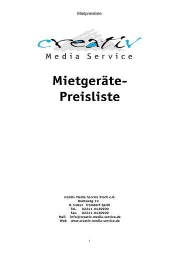 Mietgeräte- Preisliste - creativ Media Service