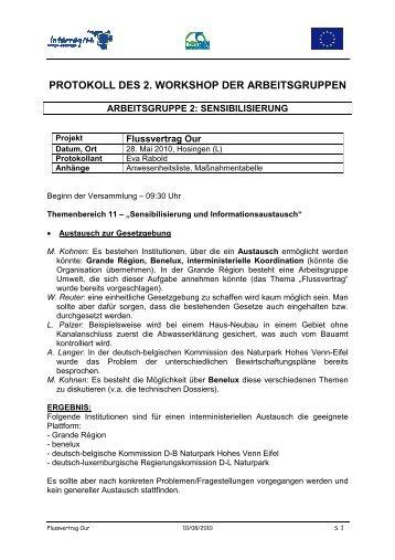 PROTOKOLL DES 2. WORKSHOP DER ARBEITSGRUPPEN