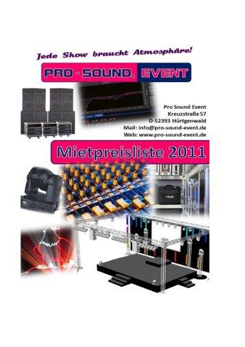 Mietpreisliste 2011 - Pro-Sound-Event GmbH