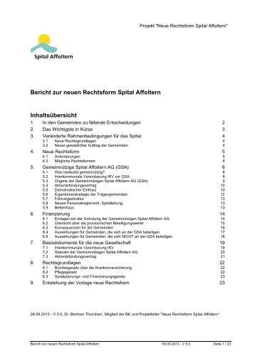 Bericht der neuen Rechtsform - Aeugst am Albis
