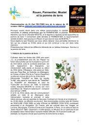 Rouen, Parmentier, Mustel et la pomme de terre - Science Action ...