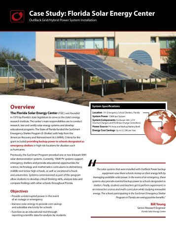 Case Study: Florida Solar Energy Center - OutBack Power Systems