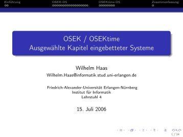 OSEK / OSEKtime Ausgewählte Kapitel eingebetteter Systeme