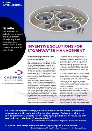 Hydro International Casestudy (PDF 1207 Kb) - Cadspec