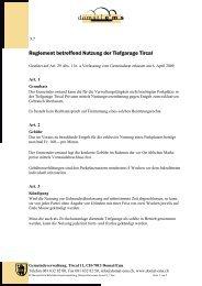 Reglement betreffend Nutzung der Tiefgarage Tircal - Domat/Ems