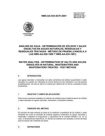 NMX-AA-034-SCFI-2001 ANÁLISIS DE AGUA ... - CONAGUA