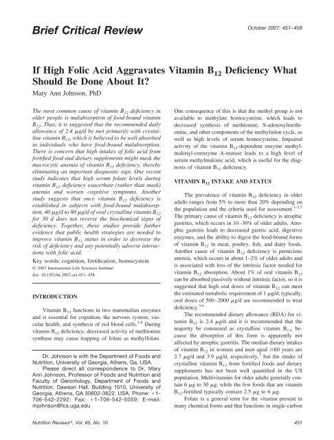 If High Folic Acid Aggravates Vitamin B12 Deficiency What