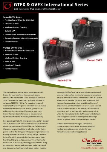 GTFX and GVFX Intl Spec Sheet - OutBack Power Systems
