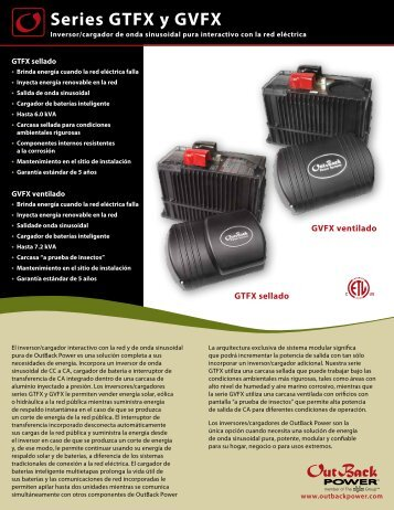 Series GTFX y GVFX - OutBack Power Systems