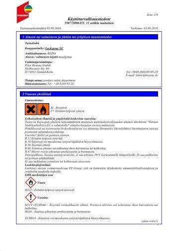 Käyttöturvallisuustiedote - HL Group