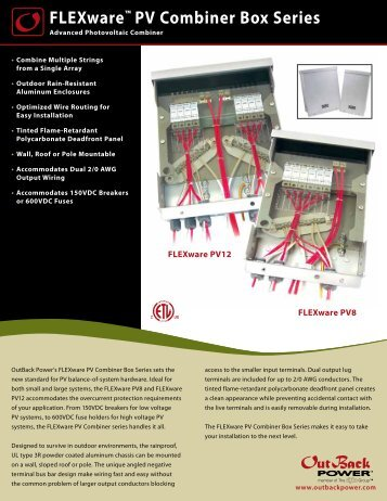 FLEXware PV8 & PV12 Spec Sheet - OutBack Power Systems