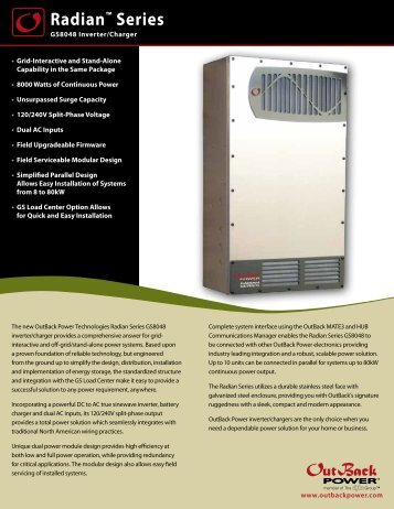 Radian Series Spec Sheet - English (251 KB PDF) - OutBack Power ...