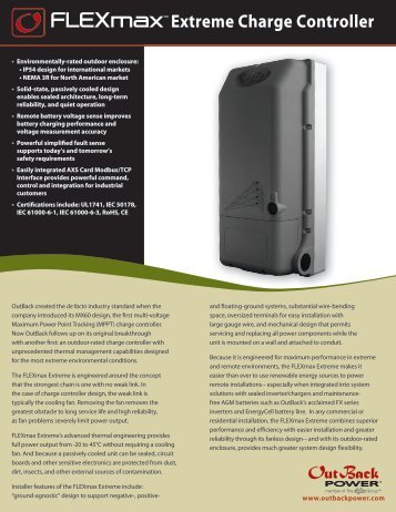 FLEXmax Extreme Datasheet - OutBack Power Systems