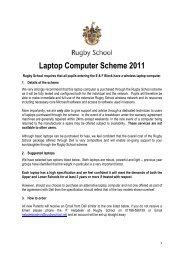 Laptop Computer Scheme 2011 - Rugby School