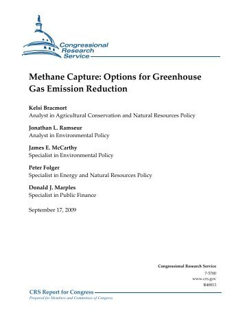 Methane Capture: Options for Greenhouse Gas Emission Reduction