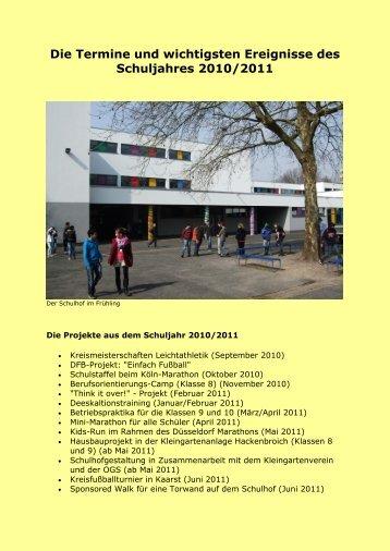 Die Termine und wichtigsten Ereignisse des ... - Schule am Chorbusch