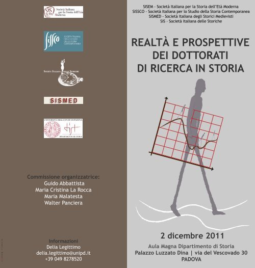 Unipd Calendario.Realta E Prospettive Dei Dottorati Di Ricerca In Storia