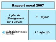 Rapport moral 2007 - Club Alpin Francais - Albertville