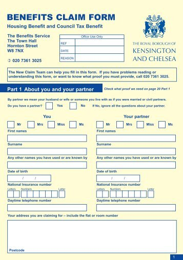 Housing Benefit and Council Tax Benefit claim form