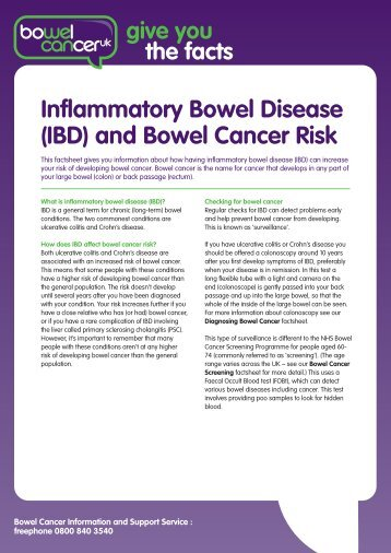 (IBD) and Bowel Cancer Risk - Bowel Cancer UK