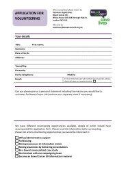 APPLICATION FOR VOLUNTEERING - Bowel Cancer UK