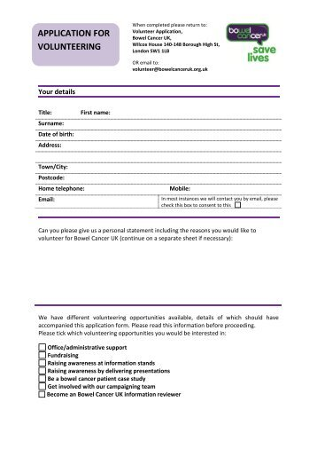 APPLICATION FOR VOLUNTEERING - Bowel Cancer UK