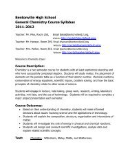 Bentonville High School General Chemistry Course Syllabus 2011 ...